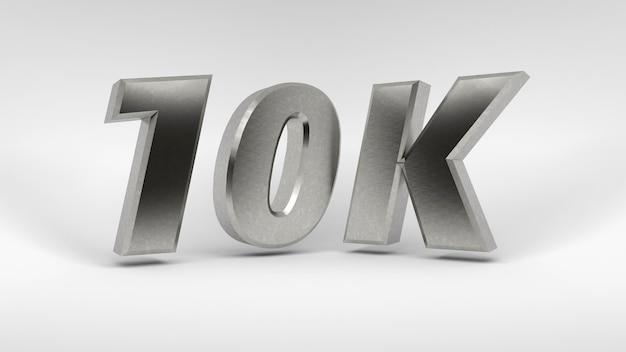 Logotipo 10k isolado no fundo branco renderização em 3d
