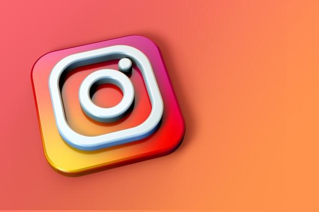 Logotipo 3d do instagram minimalista com espaço em branco
