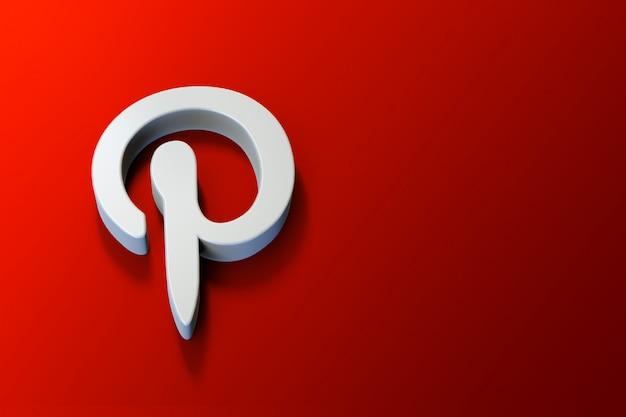 Logotipo 3d do pinterest minimalista com espaço em branco