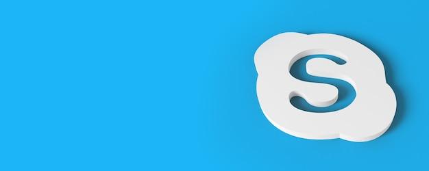 Logotipo 3d do skype com fundo azul