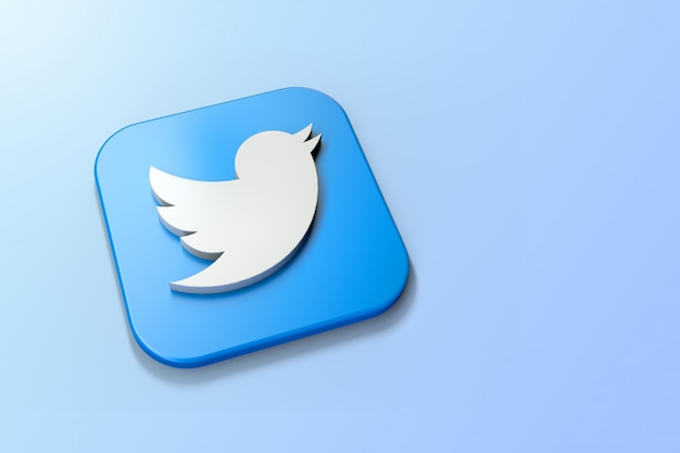 Logotipo 3d do twitter minimalista com espaço em branco