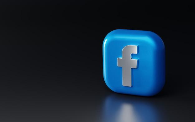 Logotipo 3d metálico brilhante do facebook