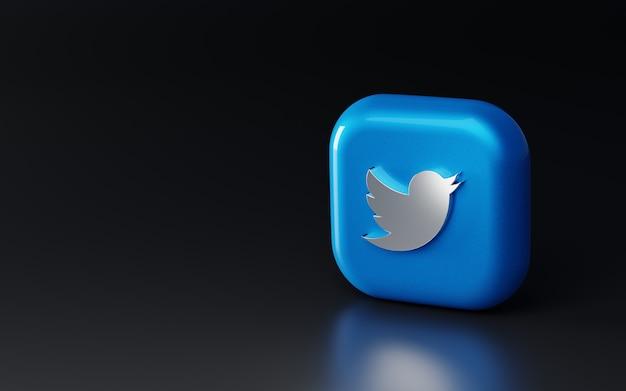 Logotipo 3d metálico brilhante do twitter