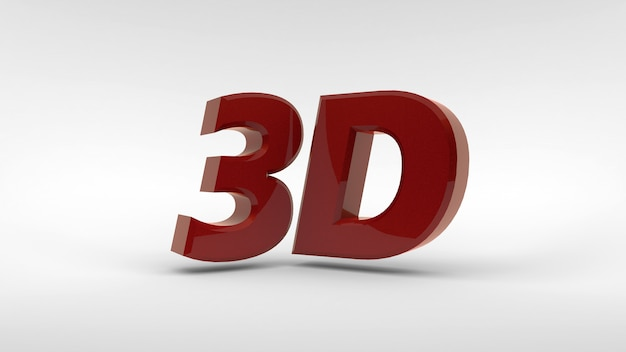 Logotipo 3d vermelho isolado no espaço em branco com efeito de reflexão. renderização em 3d.
