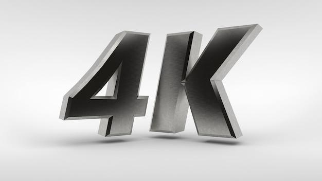 Logotipo da 4k isolado no fundo branco, renderização em 3d