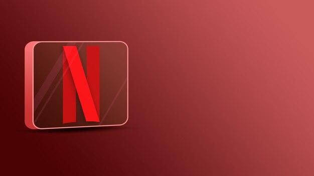 Logotipo da netflix em uma plataforma de vidro 3d