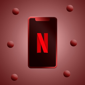 Logotipo da netflix na renderização 3d da tela do telefone