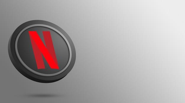 Logotipo da netflix na renderização do botão redondo