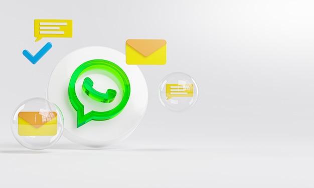 Logotipo de vidro acrílico do whatsapp e ícones de mensagens copy space 3d