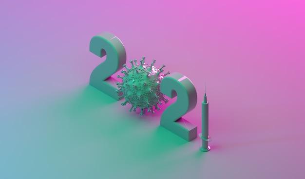 Logotipo do ano de 2021 com ilustração 3d do banner do ano novo com seringa de vírus e vacina