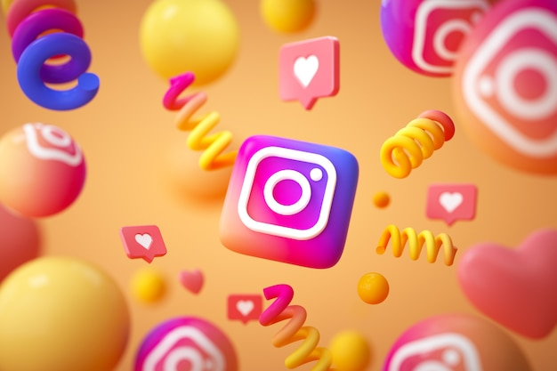 Logotipo do aplicativo instagram com emoji e objetos flutuantes