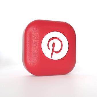 Logotipo do aplicativo pinterest com renderização em 3d