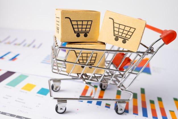 Logotipo do carrinho de compras com caixa no gráfico