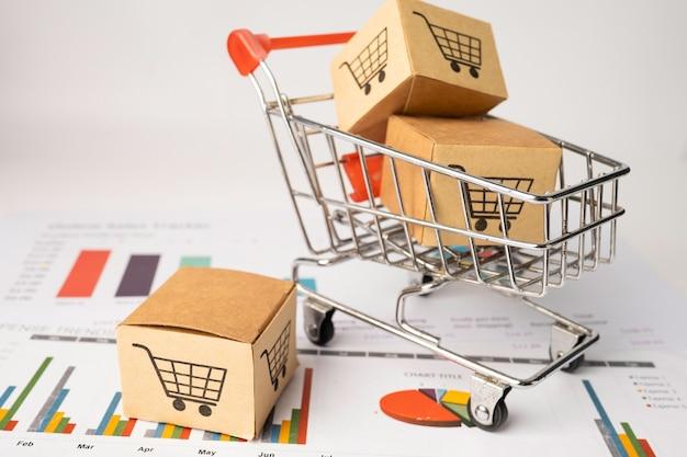 Logotipo do carrinho de compras na caixa com fundo gráfico.