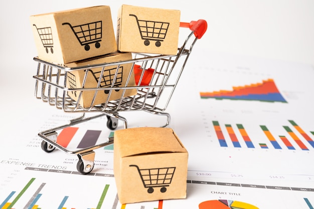 Logotipo do carrinho de compras na caixa com gráfico.