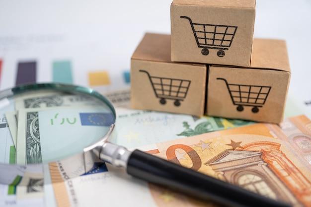 Logotipo do carrinho de compras na caixa com lupa no gráfico e notas de euro