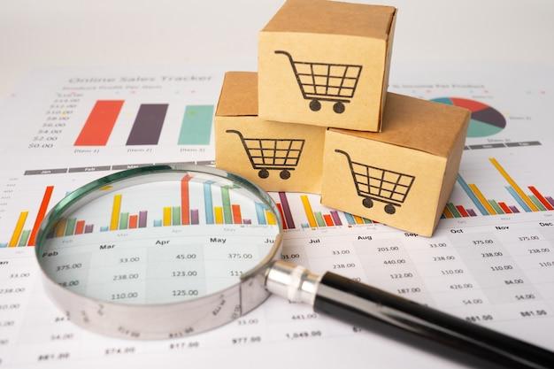 Logotipo do carrinho de compras na caixa com lupa no gráfico.