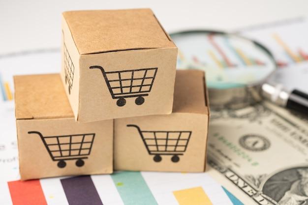 Logotipo do carrinho de compras na caixa com lupa.