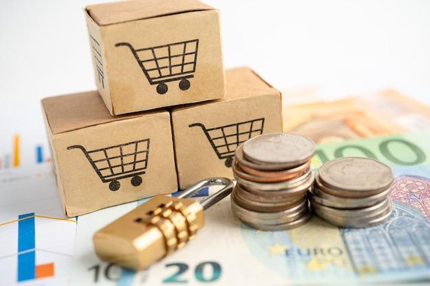 Logotipo do carrinho de compras na caixa com notas de euro em conta bancária.