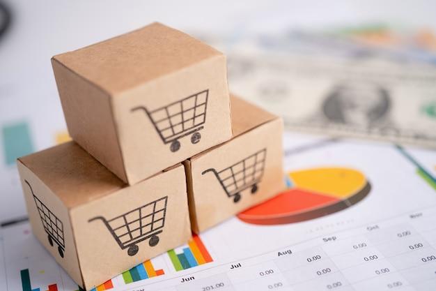 Logotipo do carrinho de compras na caixa investimento em conta bancária