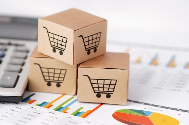 Logotipo do carrinho de compras na caixa no gráfico