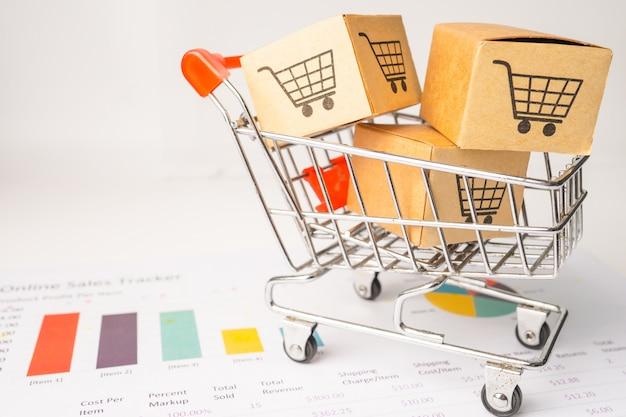 Logotipo do carrinho de compras na caixa no gráfico.