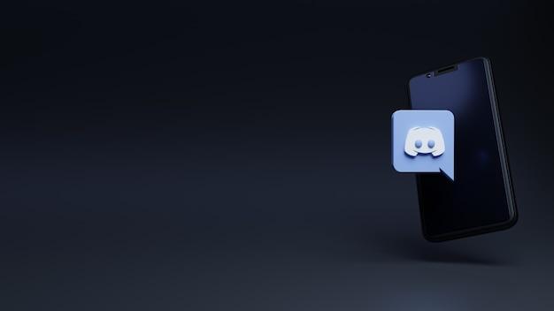 Logotipo do discord em moderno para ícone de mídia social com o modelo de renderização 3d do smartphone