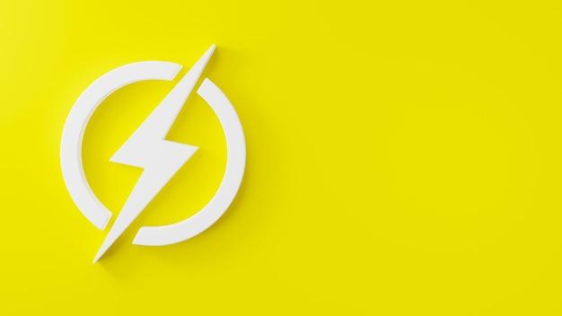 Logotipo do elemento de energia elétrica do ícone de relâmpago na ilustração de renderização 3d do círculo