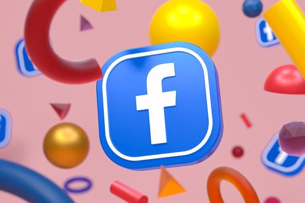 Logotipo do facebook com formas geométricas abstratas, renderização em 3d