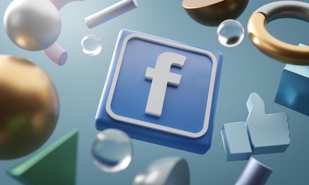 Logotipo do facebook em torno de fundo de forma abstrata de renderização 3d