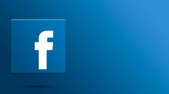 Logotipo do facebook na plataforma 3d