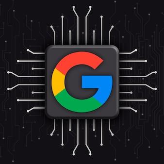 Logotipo do google em 3d de fundo de tecnologia de cpu realista