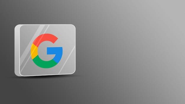 Logotipo do google em uma plataforma de vidro 3d