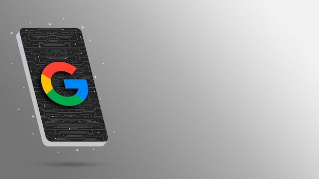Logotipo do google no display tecnológico do telefone 3d render