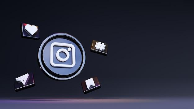 Logotipo do instagram 3d com fundo escuro