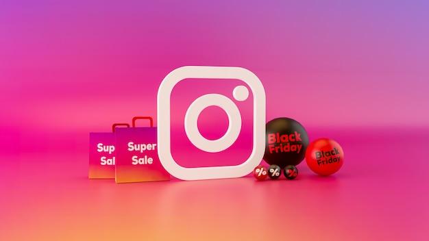Logotipo do instagram com black friday bal