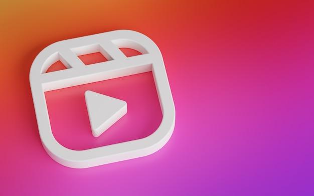 Logotipo do instagram de carretéis. novo recurso de renderização 3d do aplicativo de mídia social