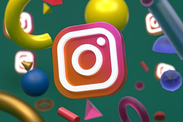 Logotipo do instagram em fundo de geometria abstrata