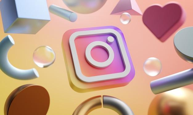 Logotipo do instagram em torno de fundo de forma abstrata de renderização 3d