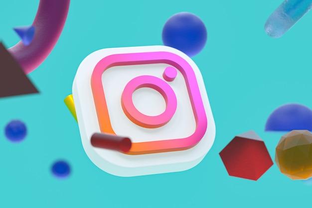 Logotipo do instagram ig em fundo geométrico abstrato