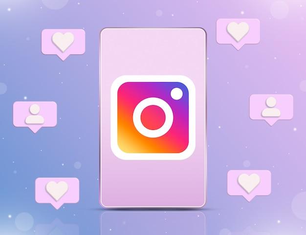 Logotipo do instagram na tela do telefone com ícones de notificação de novos gostos e seguidores em 3d