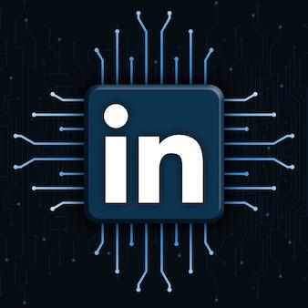 Logotipo do linkedin em 3d de fundo de tecnologia de cpu realista