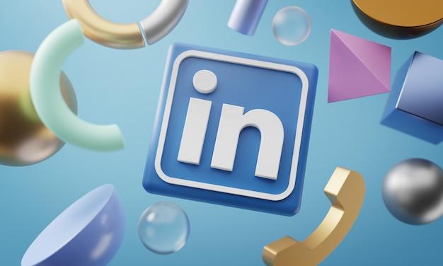 Logotipo do linkedin em torno de renderização 3d em forma abstrata de fundo