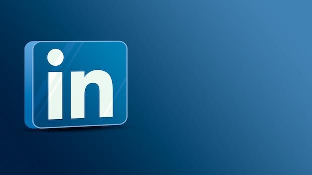 Logotipo do linkedin em uma plataforma de vidro 3d