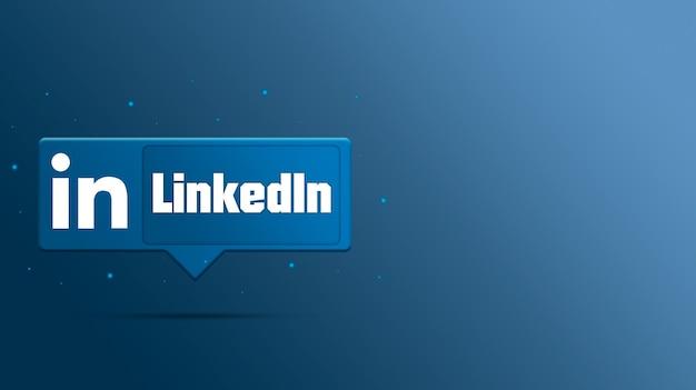 Logotipo do linkedin no balão de fala 3d