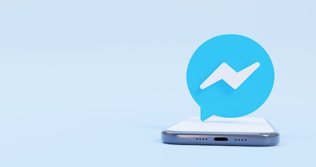 Logotipo do messenger na tela do telefone