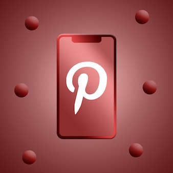 Logotipo do pinterest na renderização 3d da tela do telefone
