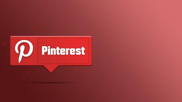 Logotipo do pinterest na renderização 3d do balão de fala
