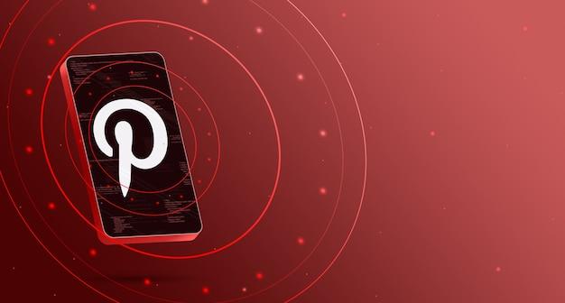 Logotipo do pinterest no telefone com display tecnológico, renderização 3d inteligente