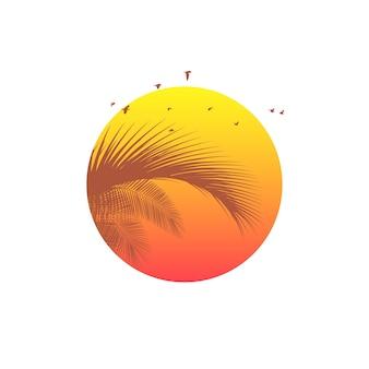 Logotipo do pôr do sol ou nascer do sol com silhueta de folhas de palmeira. plano de fundo tropical. emblema de resort e spa. férias de verão. isolado no branco.